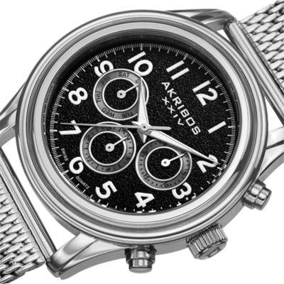 Akribos XXIV Mens Silver Tone Bracelet Watch-A-747ssb
