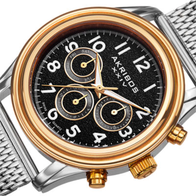 Akribos XXIV Mens Silver Tone Bracelet Watch-A-747ygb