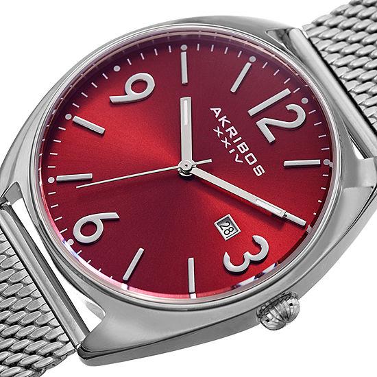 Akribos XXIV Mens Silver Tone Bracelet Watch-A-1026rd