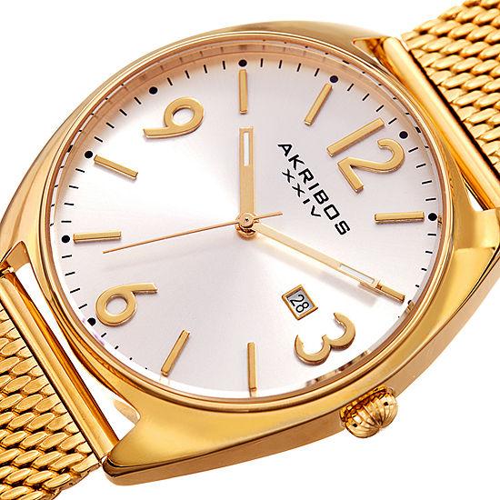 Akribos XXIV Mens Gold Tone Bracelet Watch-A-1026yg