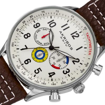 Akribos XXIV Mens Brown Strap Watch-A-751wbr