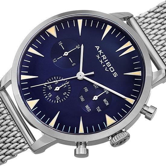 Akribos XXIV Mens Silver Tone Bracelet Watch-A-1027bu