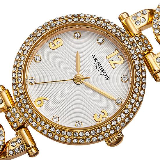 Akribos Xxiv Womens Gold Tone Bracelet Watch A 756yg