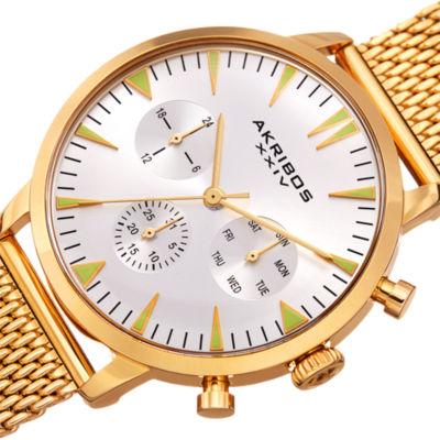 Akribos XXIV Mens Gold Tone Bracelet Watch-A-1027yg