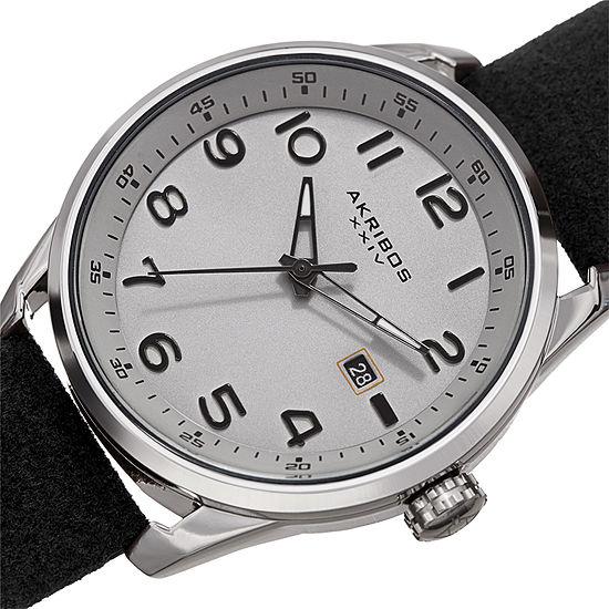 Akribos XXIV Mens Black Strap Watch-A-1029bk