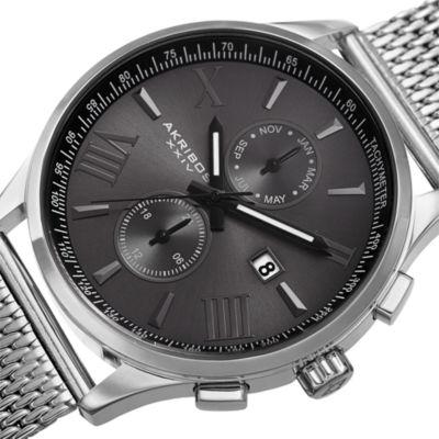 Akribos XXIV Mens Silver Tone Bracelet Watch-A-905ssb