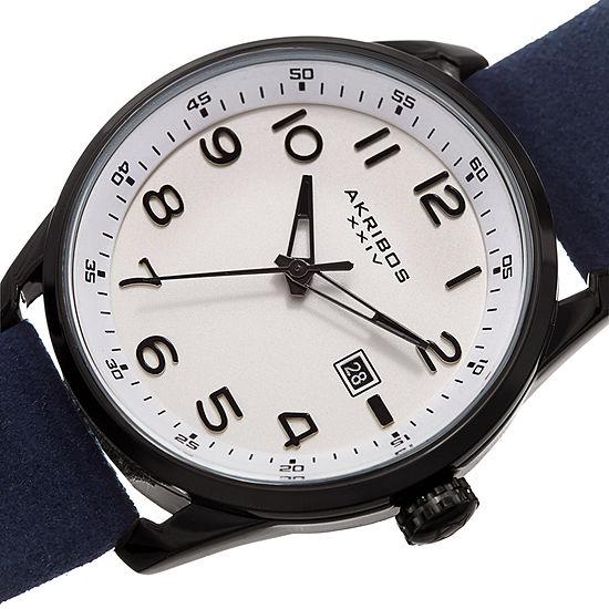 Akribos XXIV Mens Blue Strap Watch-A-1029bu