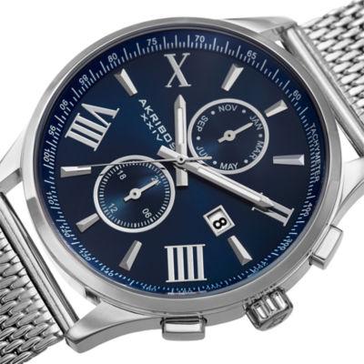 Akribos XXIV Mens Silver Tone Bracelet Watch-A-905ssbu
