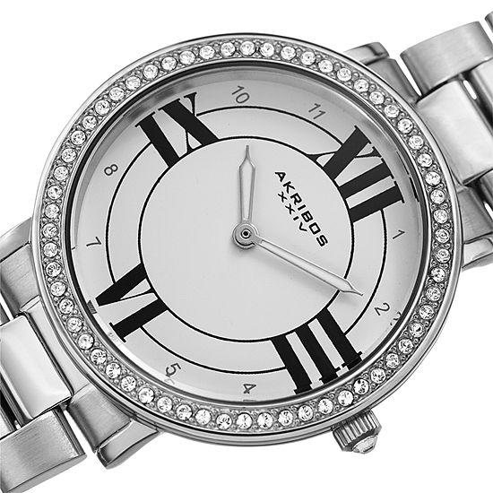 Akribos XXIV Womens Silver Tone Bracelet Watch-A-1036ss