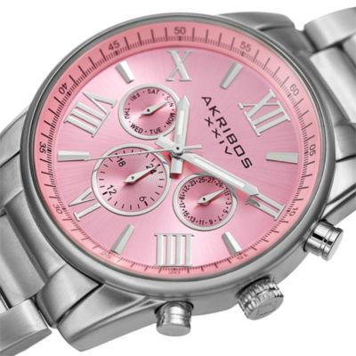 Akribos XXIV Womens Silver Tone Bracelet Watch-A-908sspk