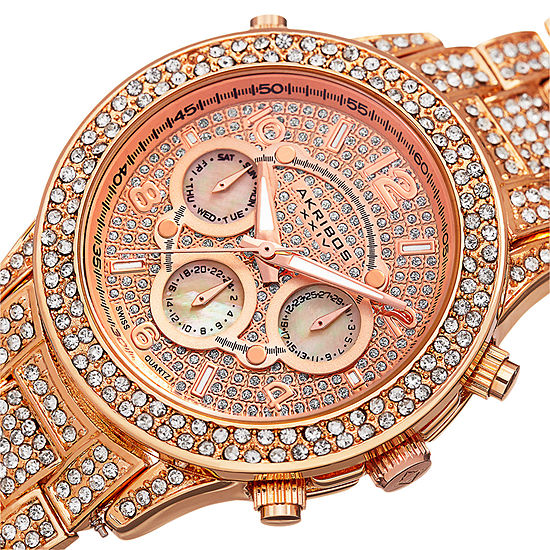 Akribos XXIV Womens Crystal Accent Rose Goldtone Bracelet Watch-A-776rg