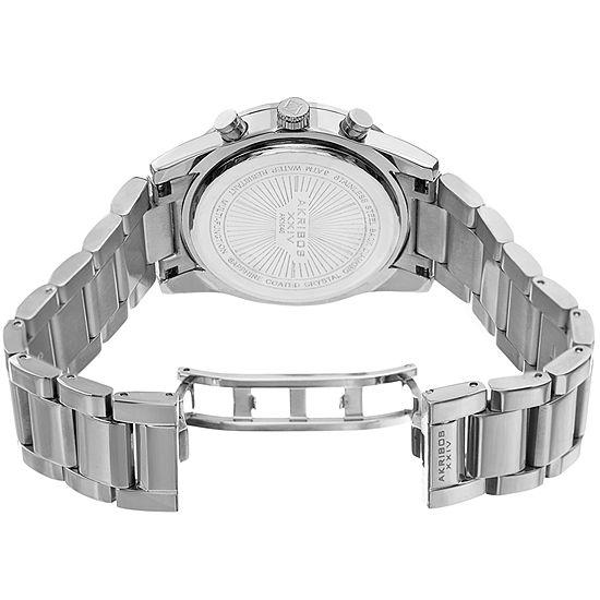 Akribos XXIV Mens Silver Tone Bracelet Watch-A-1040ss