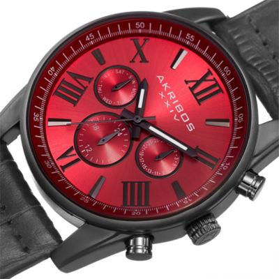 Akribos XXIV Not Applicable Mens Gray Strap Watch-A-911rd