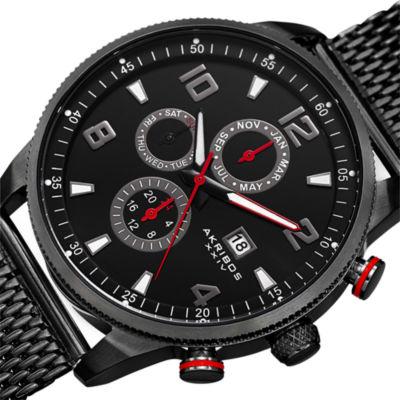 Akribos XXIV Mens Black Bracelet Watch-A-784bk