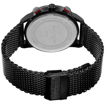 Akribos XXIV Not Applicable Mens Black Bracelet Watch-A-784bk