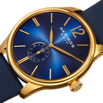 Akribos XXIV Mens Blue Strap Watch-A-916ygbu