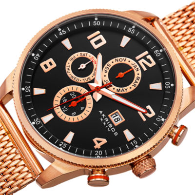 Akribos XXIV Mens Rose Goldtone Bracelet Watch-A-784rg