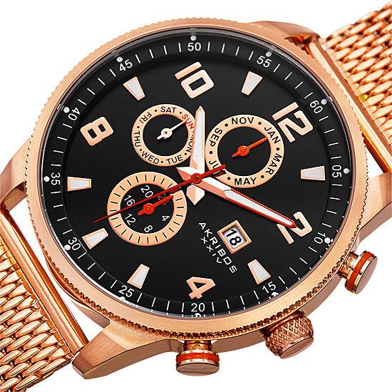 Akribos Xxiv Mens Rose Goldtone Bracelet Watch A 784rg