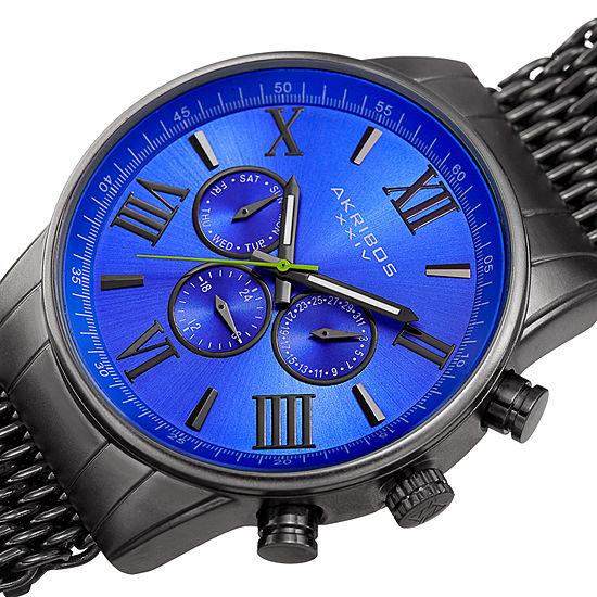 Akribos XXIV Mens Gray Bracelet Watch-A-919gnbu