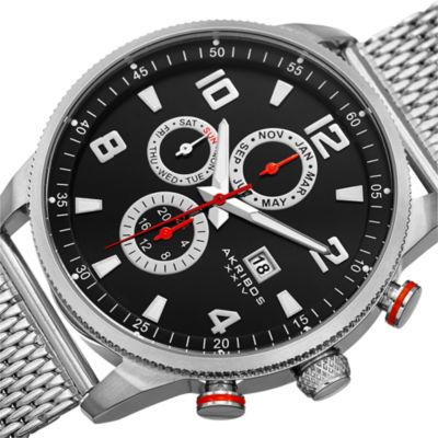 Akribos XXIV Mens Silver Tone Bracelet Watch-A-784ssb