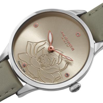 Akribos XXIV Womens Gray Strap Watch-A-1047gy
