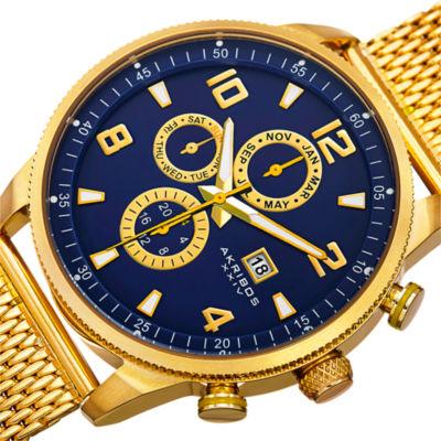 Akribos XXIV Mens Gold Tone Bracelet Watch-A-784ygbu