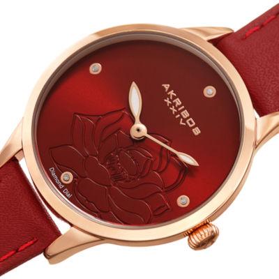 Akribos XXIV Womens Red Strap Watch-A-1047rd