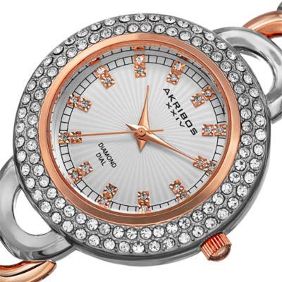 Akribos XXIV Womens Two Tone Bracelet Watch-A-804ttr