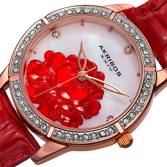 Akribos XXIV Set With Swarovski Crystals Womens Crystal Accent Red Bracelet Watch-A-805rd