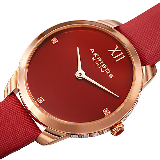 Akribos XXIV Set With Swarovski Crystals Womens Diamond Accent Red Leather Strap Watch-A-1059rd