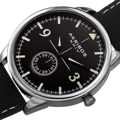 Akribos XXIV Mens Black Strap Watch-A-938bk