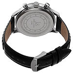 Joshua & Sons Not Applicable Mens Multi-Function Black Leather Strap Watch-J-146ssbk