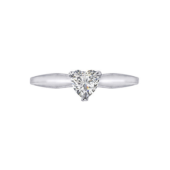 Diamonart Womens 3/8 CT. T.W. White Cubic Zirconia Sterling Silver Heart Promise Ring