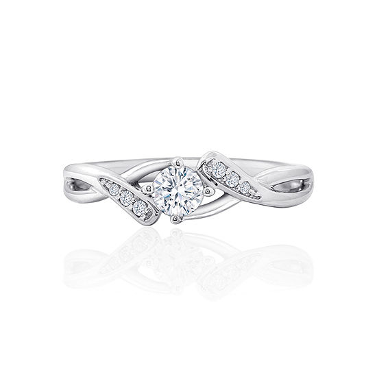 DiamonArt® Womens White Cubic Zirconia Sterling Silver Promise Ring