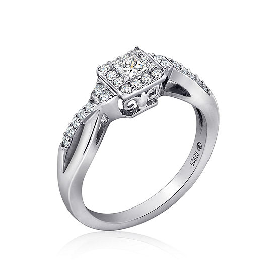 Diamonart Womens 3/8 CT. T.W. White Cubic Zirconia Sterling Silver Promise Ring