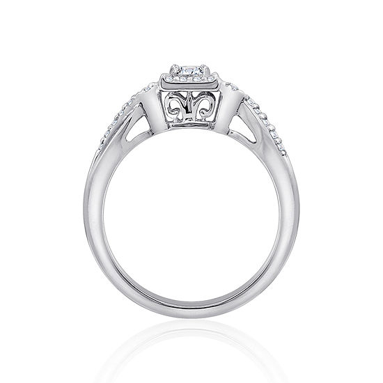 Diamonart Womens White Cubic Zirconia Sterling Silver Promise Ring