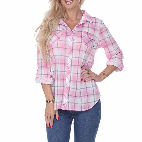 White Mark Oakley Plaid Womens Long Sleeve Button-Front Shirt