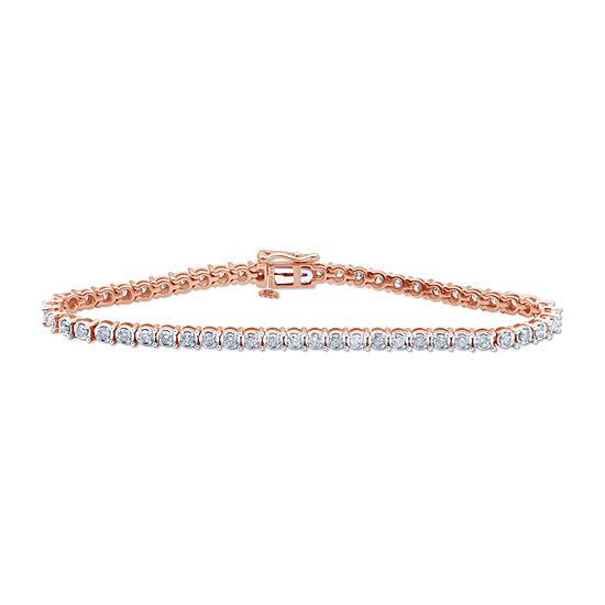 2 CT. T.W. Genuine Diamond 10K Rose Gold 7.25 Inch Tennis Bracelet