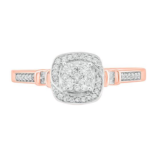 Womens 1/4 CT. T.W. Genuine White Diamond 10K Rose Gold Engagement Ring