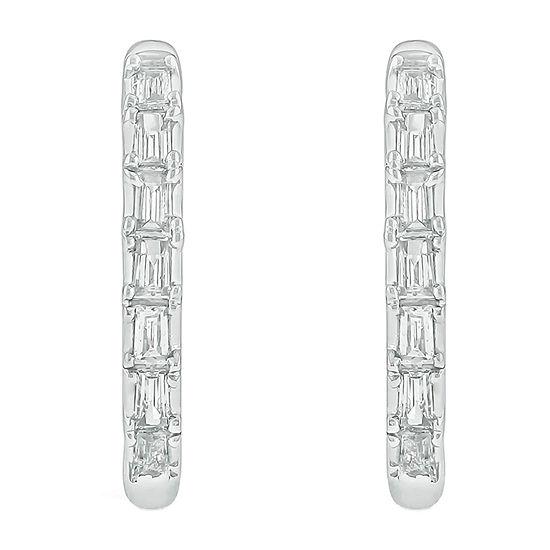 1/4 CT. T.W. Genuine White Diamond 10K White Gold 15.2mm Hoop Earrings