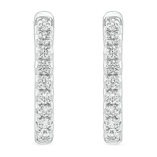 1/3 CT. T.W. Genuine White Diamond 10K White Gold 15.7mm Hoop Earrings