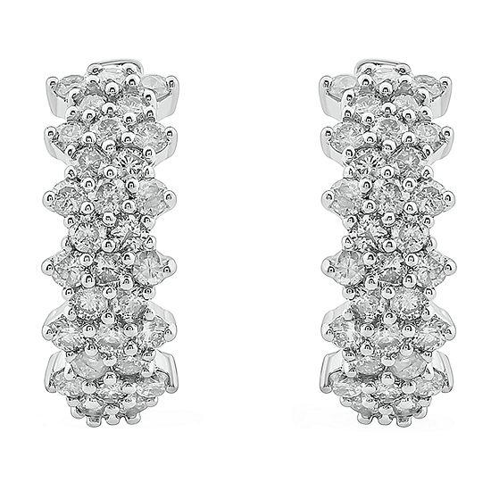 1 CT. T.W. Genuine White Diamond 10K White Gold 2.5mm Hoop Earrings
