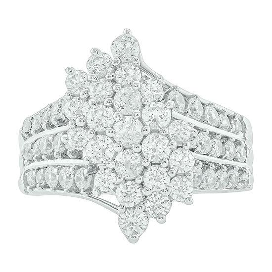Womens 2 CT. T.W. Genuine White Diamond 10K White Gold Cocktail Ring