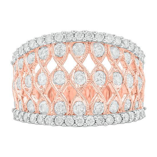 Womens 1 1/2 CT. T.W. Genuine White Diamond 10K Rose Gold Cocktail Ring