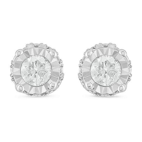 1/2 CT. T.W. Genuine White Diamond 10K White Gold 5.7mm Stud Earrings