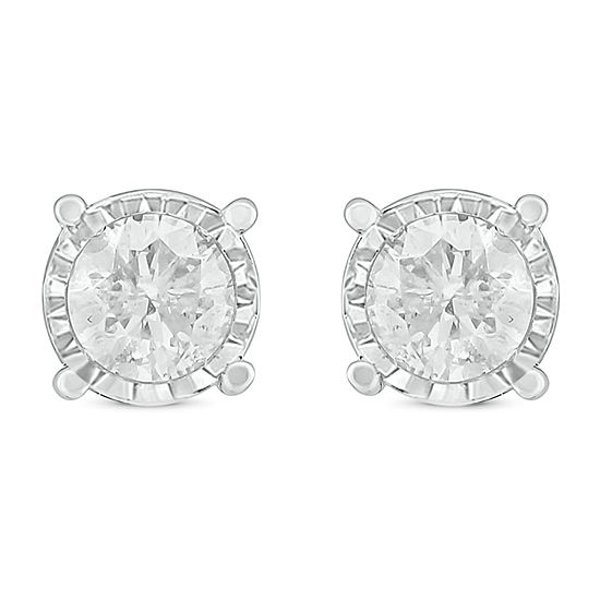 1/2 CT. T.W. Genuine White Diamond 14K White Gold 5.1mm Stud Earrings