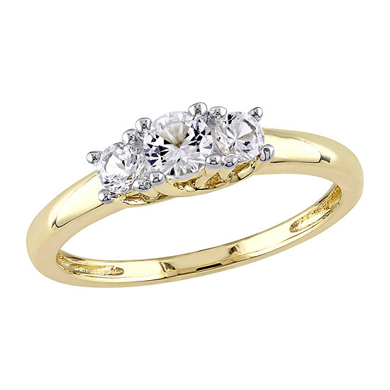 Modern Bride Gemstone Womens Lab Created White Sapphire 10K Gold 3-Stone Engagement Ring