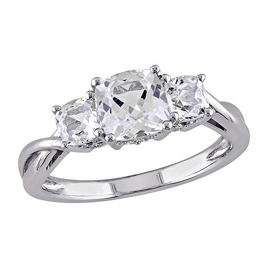 Modern Bride Gemstone Womens Diamond Accent Lab Created White Sapphire 10K White Gold 3-Stone Engagement Ring