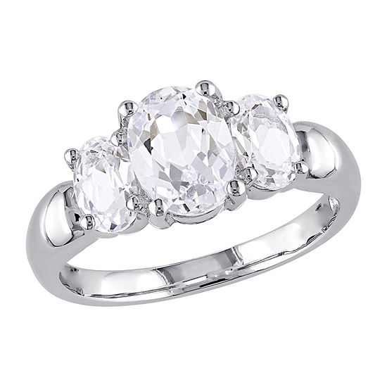 Modern Bride Gemstone Womens Lab Created White Sapphire Sterling Silver 3-Stone Engagement Ring