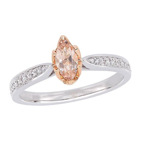 Modern Bride Gemstone Womens 1/8 CT. T.W. Lab Created Pink Morganite 14K White Gold Engagement Ring